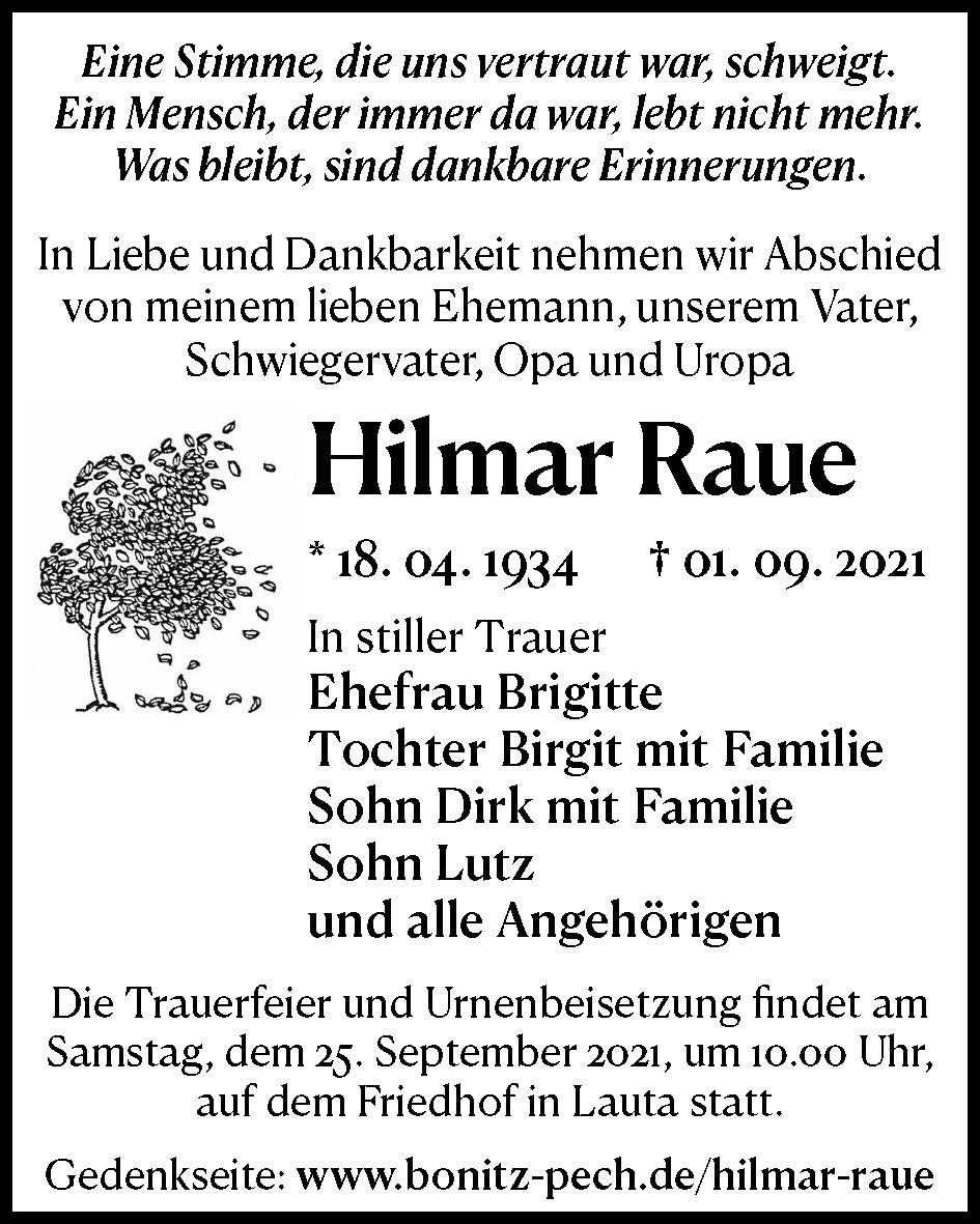 Traueranzeige von  Hilmar Raue