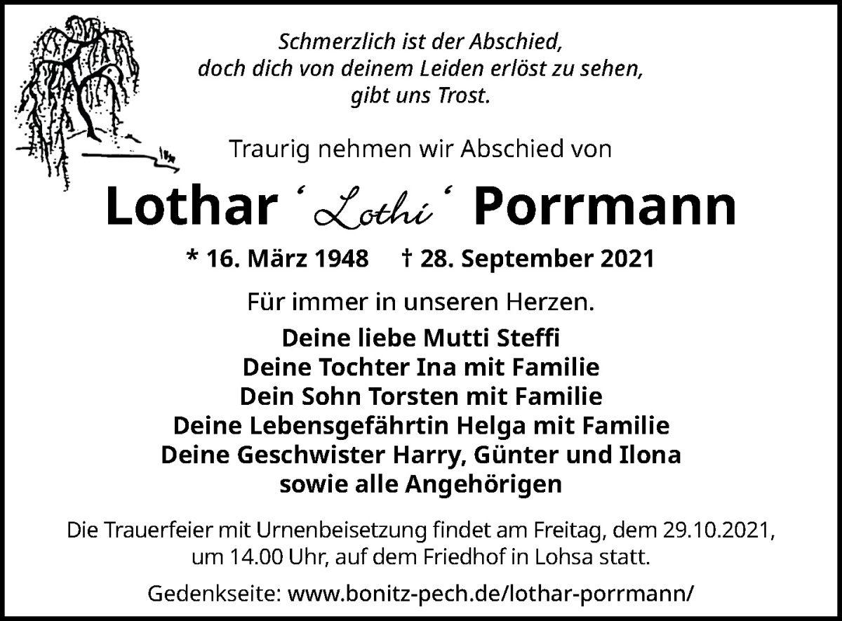Traueranzeige von  Lothar Porrmann